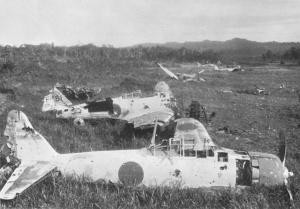 damaged Zero planes near Lae, New Guinea