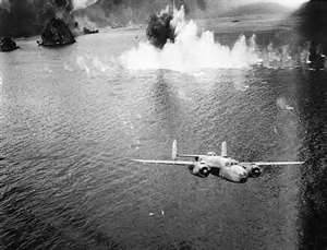 "B-25 Mitchell bomber ""skip-bombing"" in New Guinea"