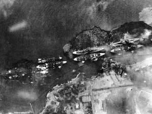 Battleship Row, as seen by Japanese pilot during the attack