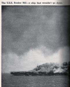 USS Bunker Hill ablaze