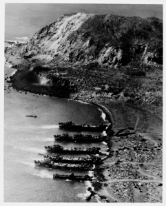 Mt. Suribachi, Iwo Jima and landing craft