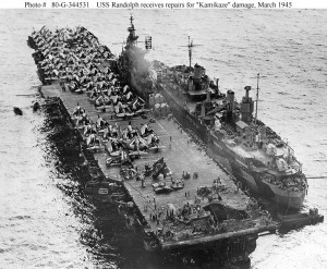 USS Randolph  getting repairs on forward deck