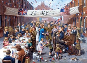 painting of V-E Day celebration