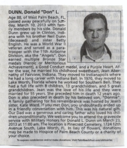 11th Airborne Obituary