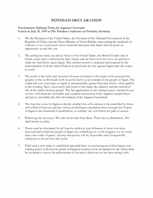 Truman And The Potsdam Conference  Pacific Paratrooper The  Points Of The Potsdam Proclamation How To Write An Essay High School also English Reflective Essay Example  I Need Help Writing A Speech