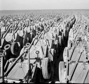 Jeep trailers stocked piled on Okinawa 1945
