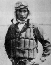 Kamikaze commander, Lt. Yukio Seki (why the life preserver?)
