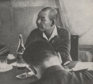 Gen. Hata at surrender table with the Soviets