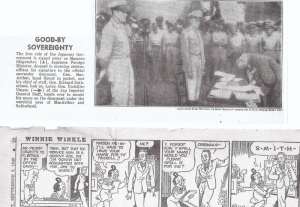 "The N.Y. ""Daily News"" photo of 3 September 1945 (From Everett's scrapbook) Cartoon was on the opposite page."