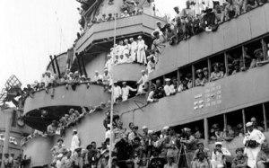 the decks of the USS Missouri