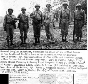 619px-General_douglas_macarthur_meets_american_indian_troops_wwii_military_pacific_navajo_pima_island_hopping