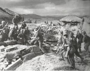 British 29th Inf. Brigade meet up w/ G.I.s at Naktong River, Sept. 1950