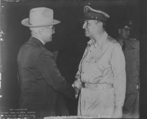Tuman and MacArthur on Wake Island, 15 Oct. 1950