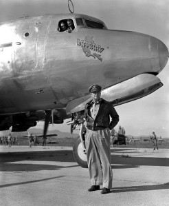"MacArthur w/ the ""Bataan"", a Lockheed C-121A Constellation in Korea.  Plane would later be used by Gen. Ridgeway."