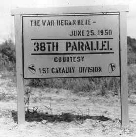 38th parallel sign - courtesy of the 1st Cavalry