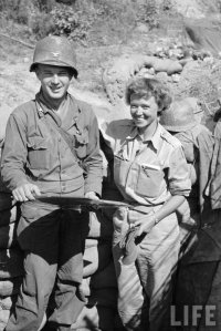 "American Col. ""Mike"" Michaelis w/ NY Herald Tribune correspondent Marguerite Higgins during the fight to take Taegu"