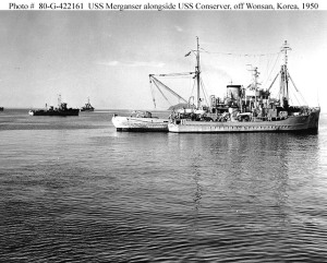 USS Merganser w/ USS Conserver off Wonsan, Korea