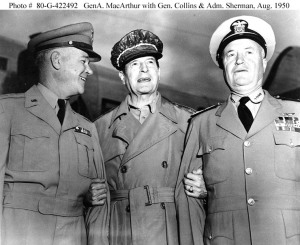 Generals Collins, MacArthur & Sherman, Korea, August 1950