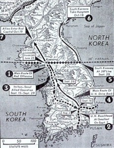 1950 Korea map