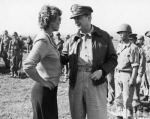 Maggie Higgins w/ MacArthur, June 1950