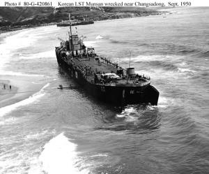 Sept. 1950, LST Munsan wrecked near Chansadong