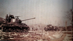 US 2nd Div. M-4 Sherman tanks cover the 187th RCT; assault of Pambol-ni, 7 Feb. 1951