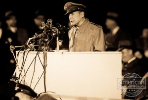 MacArthur addressing 50,000 at Soldier's Field, Chicago, April 1951