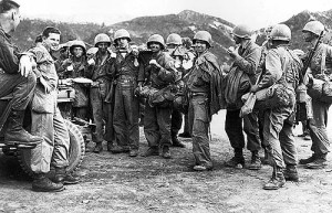 Men of the Second US Inf. Div. back down from Heartbreak Ridge