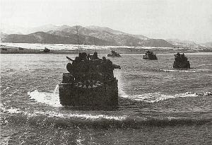 Operation Ripper - Tanks of the 25th Div. cross the Han River, March '51