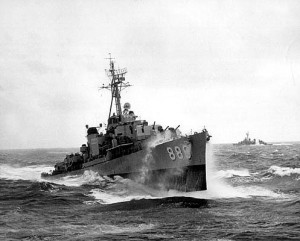 USS Orleck, DD-886 in heavy seas, Korea