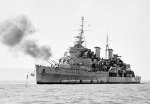 HMS Belfast during bombardment