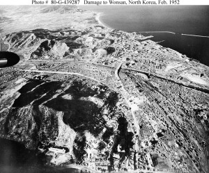 Aerial view of Wonsan bombing damage