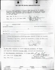 Embarkation Slip - off to Korea 1952-53