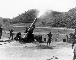 155mm howitzer, Battery A, 92nd Armored Field Artillery Battalion, June 1952 Kumhwa, Korea