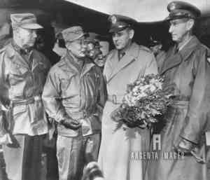 LGen. Maxwell Taylor (w/ bouquet) upon arrival in Korea; Van Fleet (left), Gen. Paik Sun Yup (Chief of Staff ROK) & Gen. Clark (right) 3 Feb., 1953