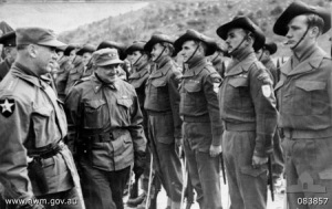 Gen. J. Van Fleet (left) inspects 3rd Battalion, Royal Australian Regiment w/ MGen. John O'Daniel