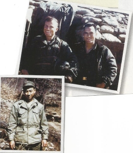 (Top): Lt. Lewis Wood on right in Korea (Bottom): A Korean valet assigned to Baker Co.