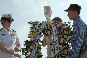 Capt. Susan Dunlap & Capt. Robert Burk during ceremonial in Hawaii
