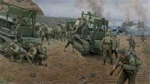 Painting of D-Day beach, artist unknown.