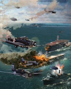 """The Battle of Midway"" painting by: Howard David Johnson"