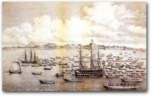 A lithograph of Cmdr. Perry's fleet in Japan