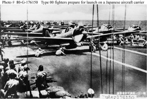 Japanese Type 00 fighters just proir to take-off. Courtesy Japanese Archives