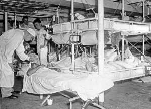 Patient ward aboard ship