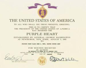 Purple Heart certificate given during the Korean War