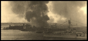 Shanghai Harbor under attack