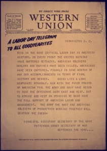 Western Union, Labor Day, 1942