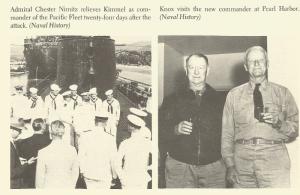 Adm. Nimitz replaces Adm. Kimmell (left) and Knox visits Nimitz in Hawaii.