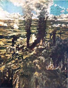 Clarkfield, P.I., aftermath depicted in a Japanese print