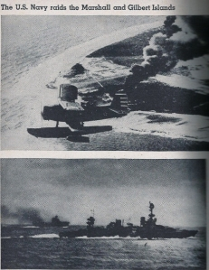(top) Navy plane over Wotjie Atoll, smoke is from fuel & ammo dump eruption.  (bottom) 2 US vessels during battle