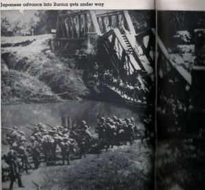 Japanese, some w/ cycles cross a temporary bridge in Burma.  Main structure destroyed by British.